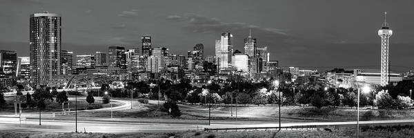 Photograph - Denver Colorado Skyline Black And White Panoramic Cityscape by Gregory Ballos