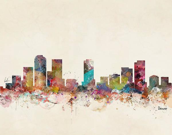 Colorado Digital Art - Denver Colorado Skyline by Bri Buckley