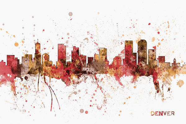 Colorado Digital Art - Denver Colorado Skyline Cityscape by Michael Tompsett