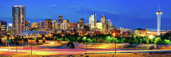 Photograph - Denver Colorado Skyline Colorful Panoramic Cityscape by Gregory Ballos