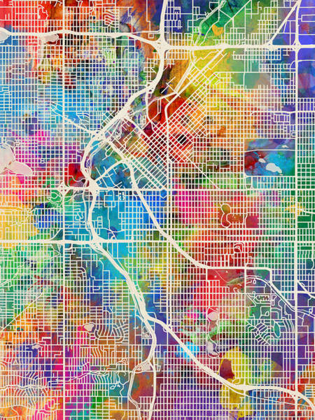 Streets Digital Art - Denver Colorado Street Map by Michael Tompsett