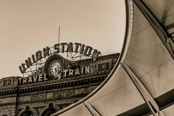 Photograph - Denver Colorado Union Train Station - Sepia by Gregory Ballos
