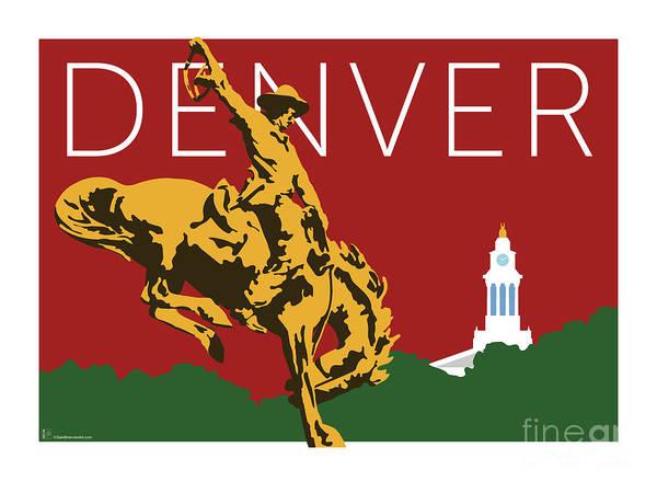 Digital Art - Denver Cowboy/maroon by Sam Brennan