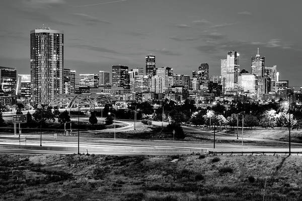 Photograph - Denver Mile High Skyline - Black And White by Gregory Ballos
