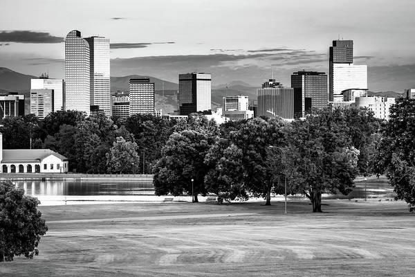 Photograph - Denver Monochrome Skyline - Black And White by Gregory Ballos