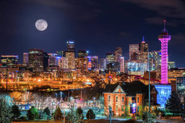 White Moon Photograph - Denver Moon by Darren White