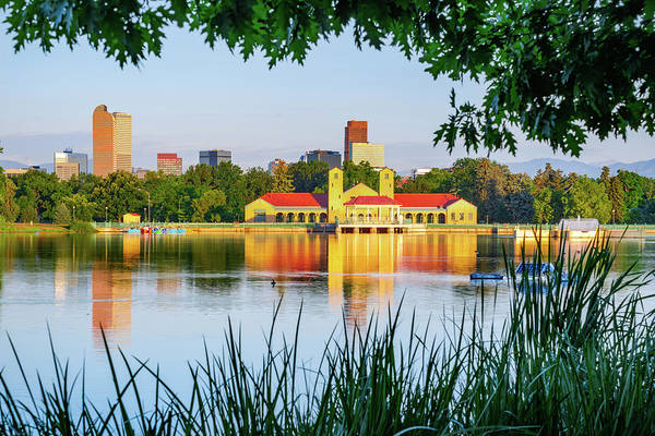 Photograph - Denver Morning Skyline City Reflections - City Park View by Gregory Ballos