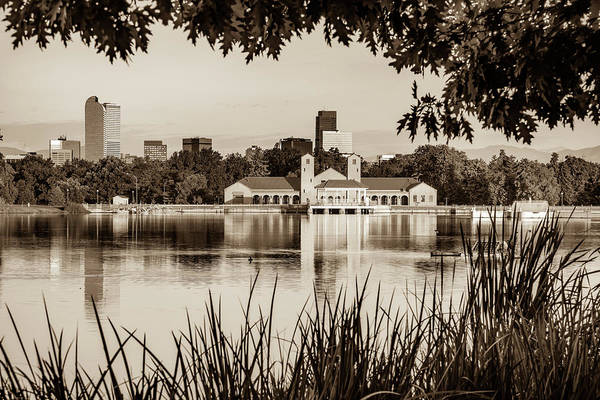 Photograph - Denver Morning Skyline City Reflections - City Park View - Sepia by Gregory Ballos