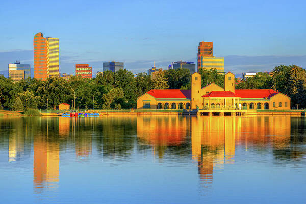 Photograph - Denver Skyline And City Park Lake Reflections by Gregory Ballos