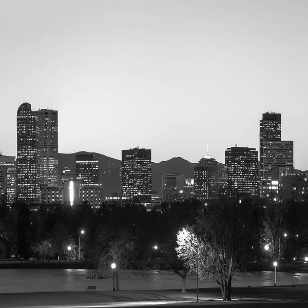 Photograph - Denver Skyline And Rocky Mountains - Square Art Black And White by Gregory Ballos
