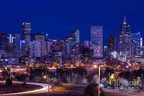 Bluehour Photograph - Denver Skyline At Night - Colorado by Gary Whitton