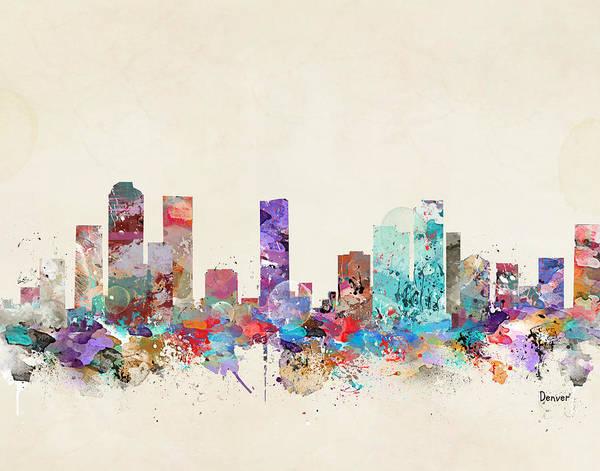 Colorado Painting - Denver Skyline by Bri Buckley