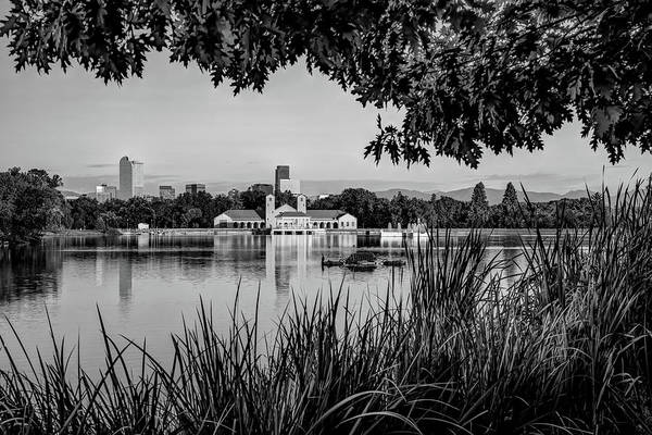 Photograph - Denver Skyline City Park Reflections At Sunrise - Black And White by Gregory Ballos