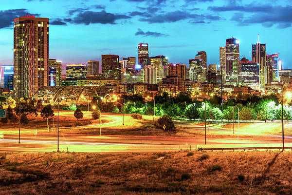 Photograph - Denver Skyline Early Morning Hues by Gregory Ballos