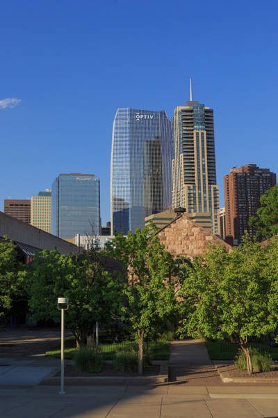 Wall Art - Photograph - Denver Skyline Emmanuel Chapel by Bridget Calip