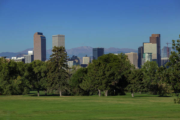 Mile High City Photograph - Denver Skyline From City Park Golf Course by Bridget Calip