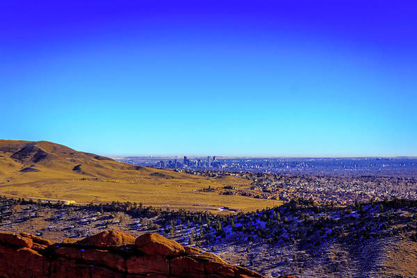 Photograph - Denver Skyline From Red Rock by Barry Jones