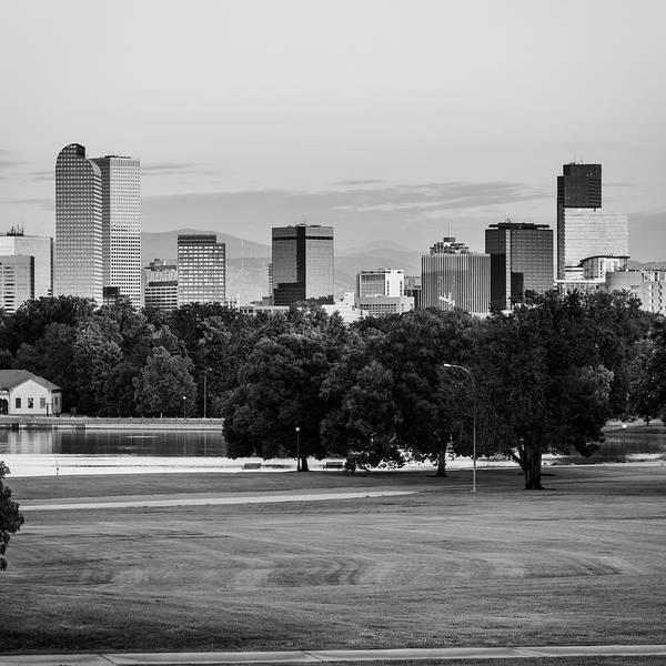 Photograph - Denver Skyline In Bw Monochrome by Gregory Ballos