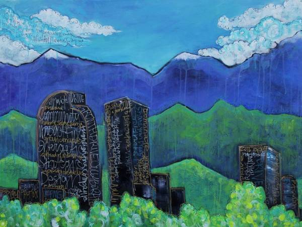 Painting - Denver Skyline Love For Colorado by Laurie Maves ART