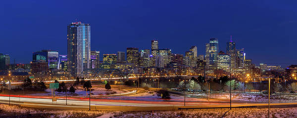 Mile High City Photograph - Denver Skyline Panorama At Blue Hour by Bridget Calip