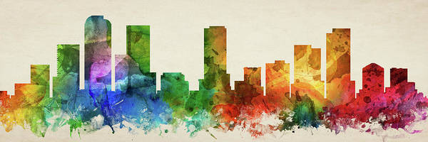 Wall Art - Digital Art - Denver Skyline Panorama Uscode-pa03 by Aged Pixel