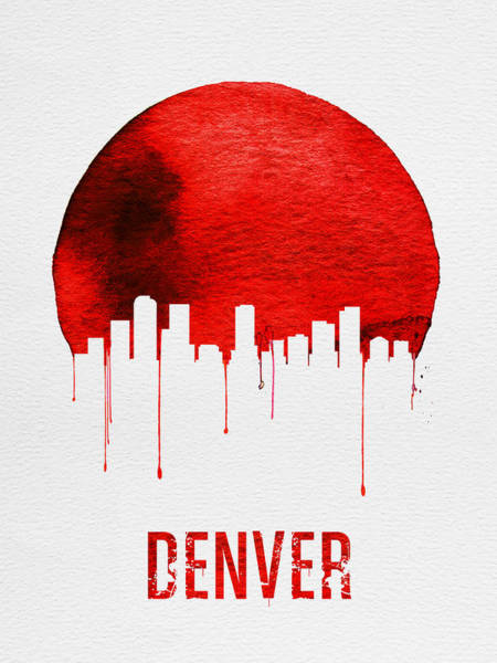 Wall Art - Painting - Denver Skyline Red by Naxart Studio