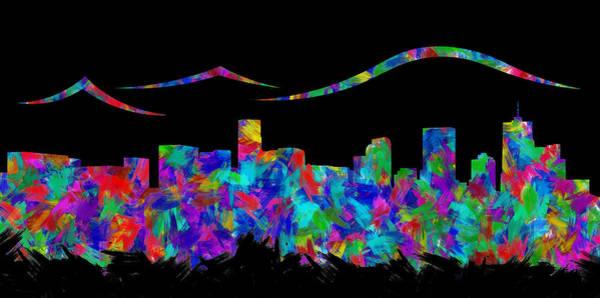 Rocky Mountain Digital Art - Denver Skyline Silhouette II by Ricky Barnard