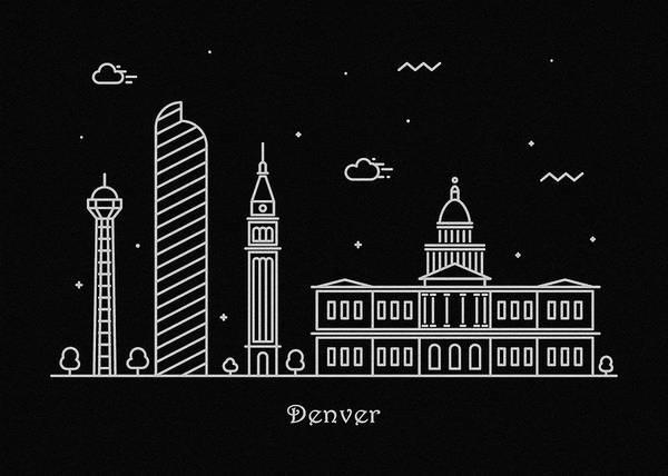 Landmark Center Drawing - Denver Skyline Travel Poster by Inspirowl Design