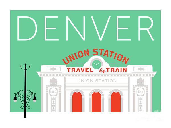 Digital Art - Denver Union Station/aqua by Sam Brennan