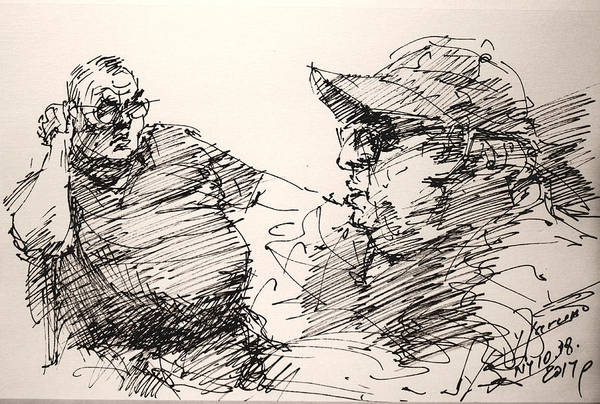 Wall Art - Drawing - Deny And Jon by Ylli Haruni