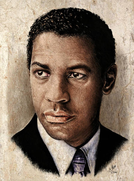 Handsome Drawing - Denzel Washington Color Ver by Andrew Read