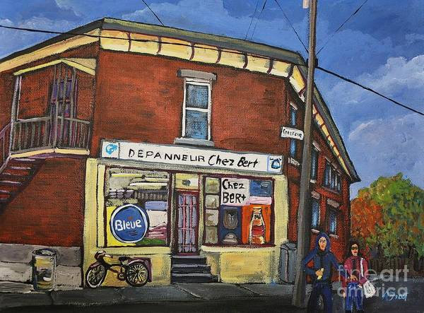 Pointe St Charles Painting - Depanneur Chez Bert Montreal by Reb Frost