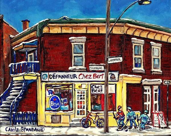 Pointe St Charles Painting - Depanneur Chez Bert Montreal Winter Scenes Hockey Art Canadian Paintings Carole Spandau             by Carole Spandau