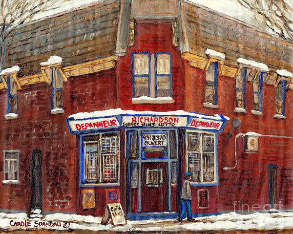 Painting - Depanneur De Montreal Pointe St Charles Best Original Montreal Paintings On Sale Peintures A Vendre  by Carole Spandau