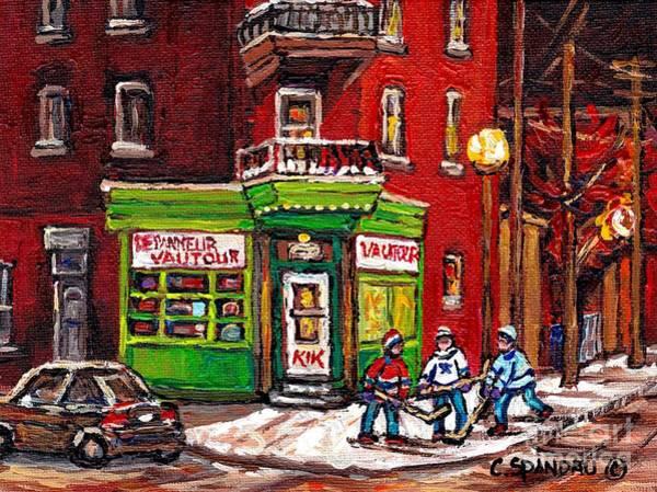 Painting - Depanneur Vautour Winter Night Hockey Game Near Glowing Street Lights St Henri Painting Montreal Art by Carole Spandau