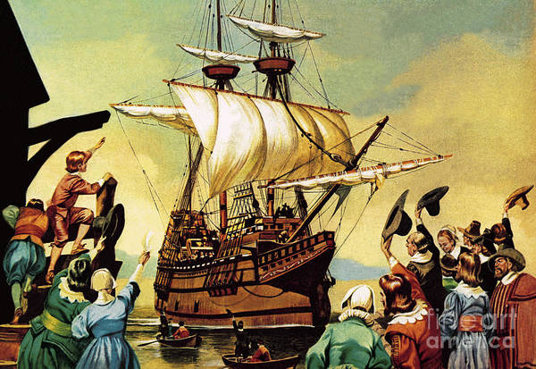 Set Sail Painting - Departure Of The Pilgrim Fathers For America  by Ron Embleton