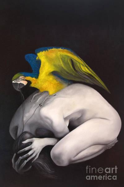 Blue Parrot Drawing - Depression by Gabriela Junosova