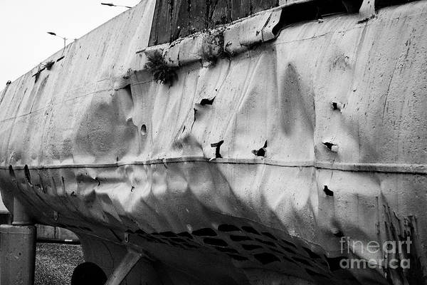 Woodside Photograph - depth charge damage to u-534 submarine museum at u-boat story Liverpool Merseyside UK by Joe Fox