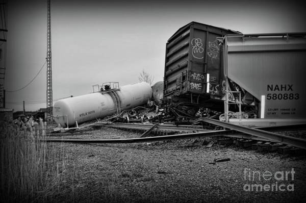Train Derailment Photograph - Derailed Train In Black And White by Paul Ward