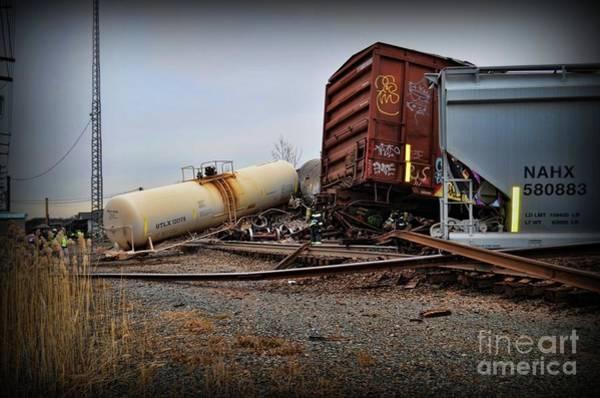 Train Derailment Photograph - Derailed Train  by Paul Ward