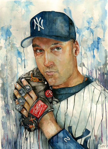 Mickey Mantle Wall Art - Painting - Derek Jeter by Michael Pattison