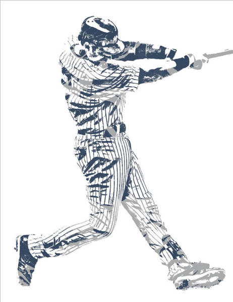 Wall Art - Mixed Media - Derek Jeter New York Yankees Pixel Art 10 by Joe Hamilton