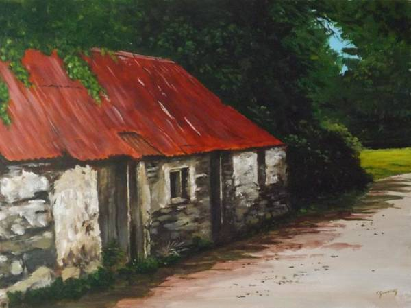 Dereliction Painting - Derelict Cottage by Tony Gunning