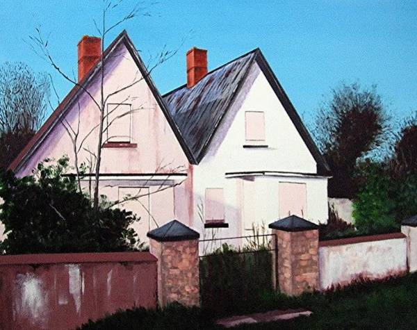 Dereliction Painting - Derelict Cottages, Villierstown by Tony Gunning