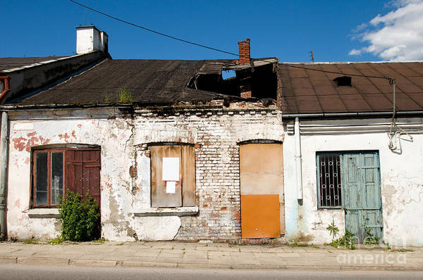 Wall Art - Photograph - Derelict Damaged Cottage House With Hole In Roof  by Arletta Cwalina