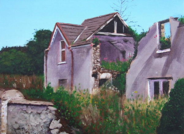 Dereliction Painting - Derelict House, Villierstown by Tony Gunning