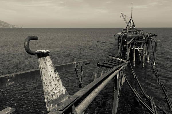 Sea Wall Art - Photograph - Derelict  Pier At Xeros In Monochrome by Iordanis Pallikaras