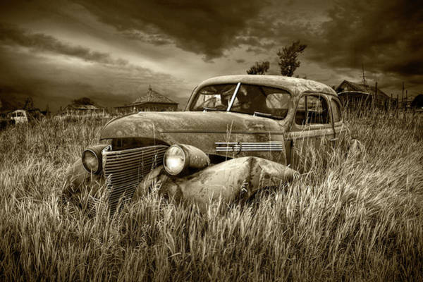 Photograph - Derelict Vintage Auto In Sepia Tone by Randall Nyhof
