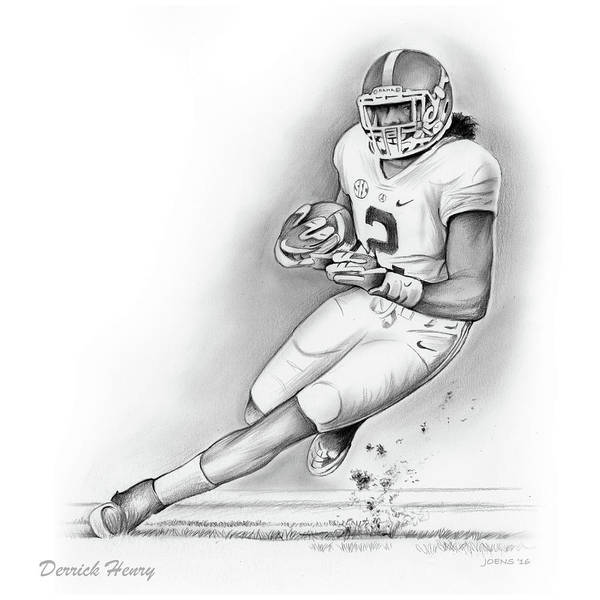 Football Players Wall Art - Drawing - Derrick Henry by Greg Joens