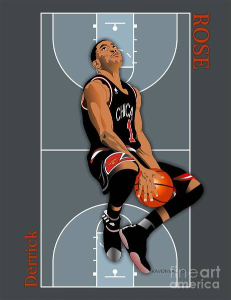 Digital Art - Derrick Rose, No. 1 by Walter Neal